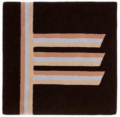 """""""Alder"""" Brown, Grey, Beige Wool Tree Alphabet Carpet or Tapestry by Rhyme Studio"""