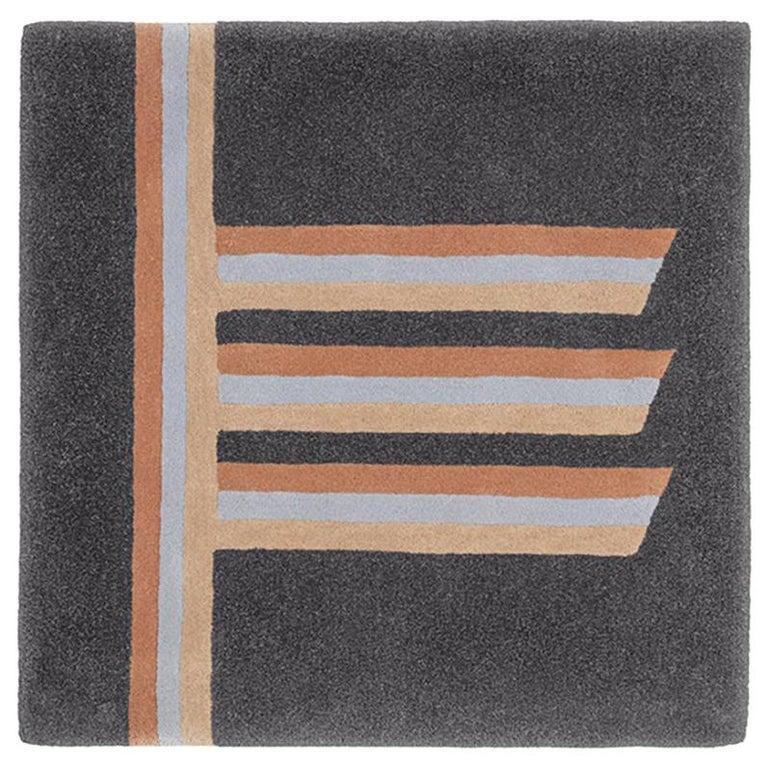 """Alder"" Owl Grey & Beige Wool Tree Alphabet Carpet or Tapestry by Rhyme Studio For Sale"