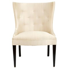 Alder Wood Dining Chair with Concave Tufted Back and Tapered Legs