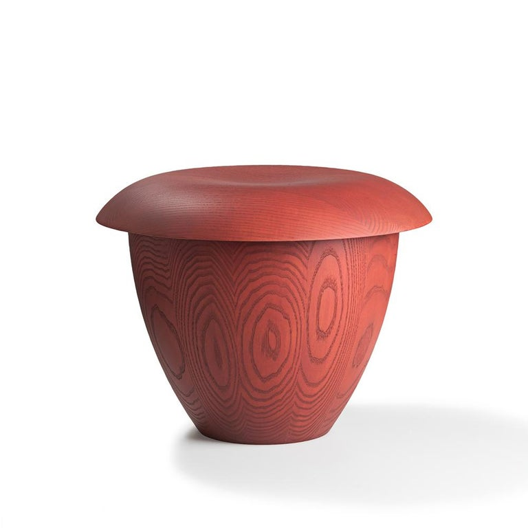 Stool designed by Aldo Bakker in 2015.   A rework of Dutch artist and designer, Aldo Bakker's wondrous Pink Stool in urushi lacquer from 2015, Bon in stained ash exudes Bakker's accomplished sense of serene form and materiality. The sculptural