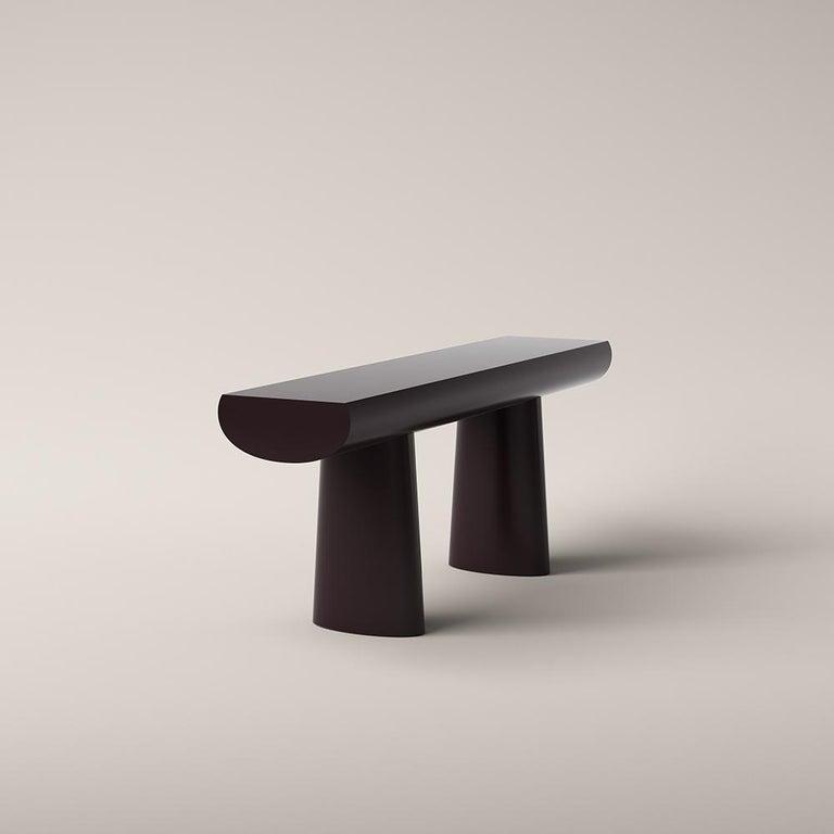 Mid-Century Modern Aldo Bakker Wood Console Table, Dark Aubergine Color by Karakter For Sale