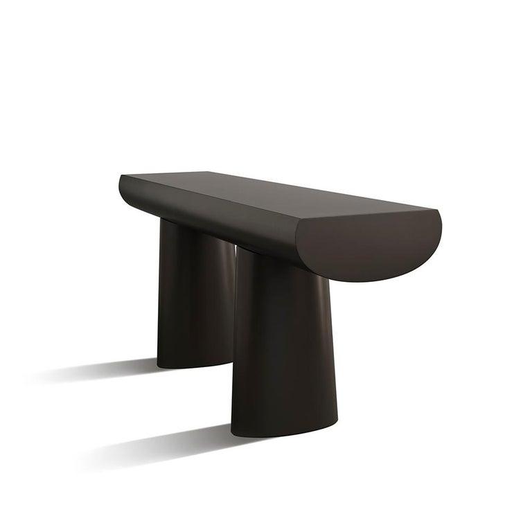 Contemporary Aldo Bakker Wood Console Table, Dark Aubergine Color by Karakter For Sale