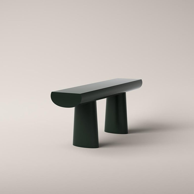 Mid-Century Modern Aldo Bakker Wood Console Table, Dark Green Color by Karakter For Sale