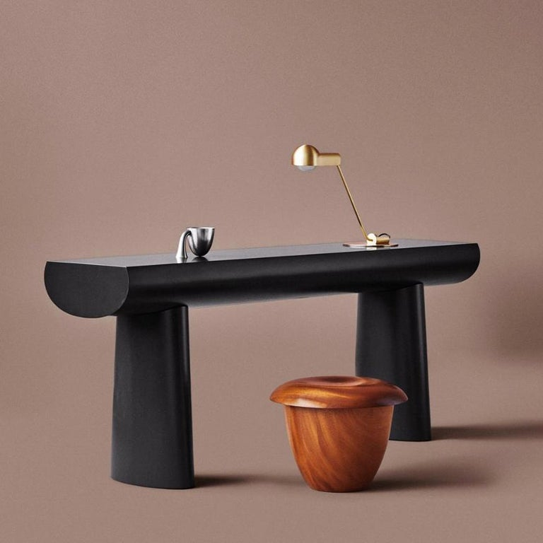 Danish Aldo Bakker Wood Console Table, Dark Green Color by Karakter For Sale