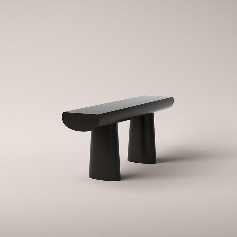 Mid-Century Modern Aldo Bakker Wood Console Table, Dark Sepia Color by Karakter For Sale