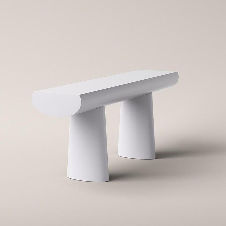 Mid-Century Modern Aldo Bakker Wood Console Table, Light Grey Color by Karakter For Sale