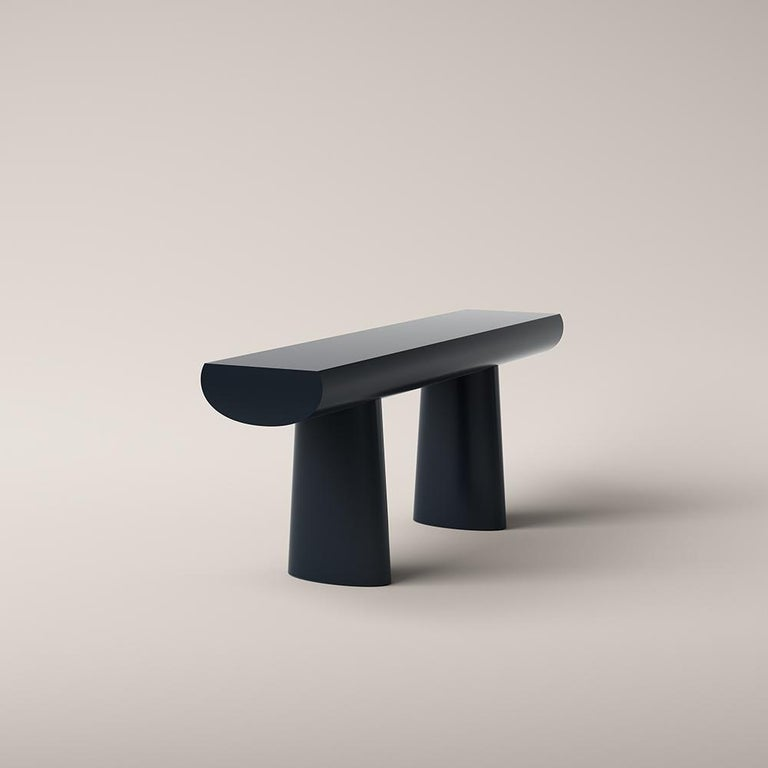Mid-Century Modern Aldo Bakker Wood Console Table, Midnight Blue Color by Karakter For Sale