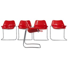 "Aldo Barberi Steel Pipe ""Dany"" Chairs with Red Plastic Seats"