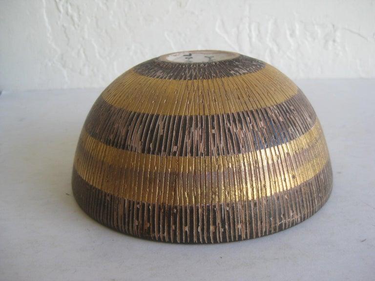 Aldo Bitossi Italian Pottery Ceramic Gold Seta Sgraffito Bowl Signed Italy 1960s For Sale 6
