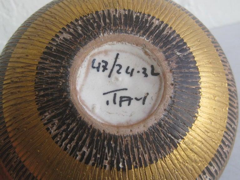 Aldo Bitossi Italian Pottery Ceramic Gold Seta Sgraffito Bowl Signed Italy 1960s For Sale 7