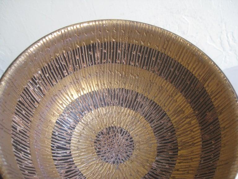 Aldo Bitossi Italian Pottery Ceramic Gold Seta Sgraffito Bowl Signed Italy 1960s For Sale 1