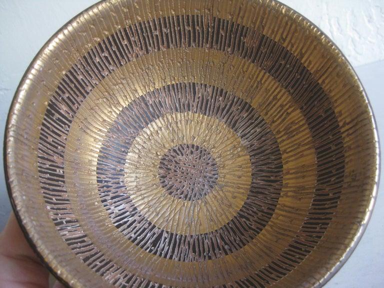 Aldo Bitossi Italian Pottery Ceramic Gold Seta Sgraffito Bowl Signed Italy 1960s For Sale 2