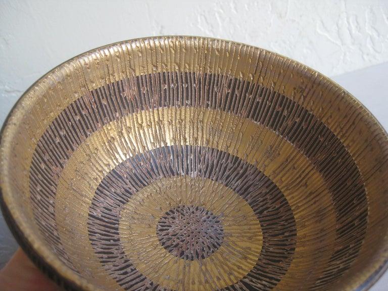 Aldo Bitossi Italian Pottery Ceramic Gold Seta Sgraffito Bowl Signed Italy 1960s For Sale 3