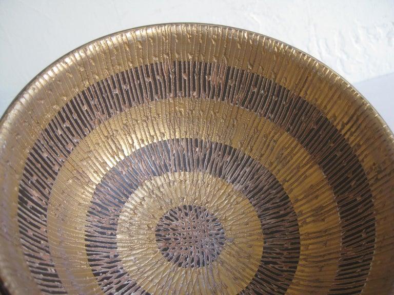 Aldo Bitossi Italian Pottery Ceramic Gold Seta Sgraffito Bowl Signed Italy 1960s For Sale 4