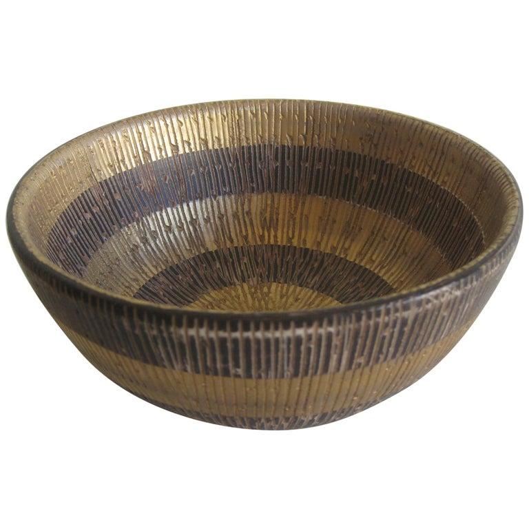 Aldo Bitossi Italian Pottery Ceramic Gold Seta Sgraffito Bowl Signed Italy 1960s For Sale