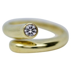 Aldo Cipullo 18 Karat Yellow Gold Cartier Single Diamond Wrap Around Ring