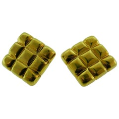 Aldo Cipullo 18 Karat Yellow Gold Quilted Clip-On Earrings Vintage, circa 1970s