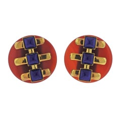 Aldo Cipullo 1970s Carnelian Lapis Gold Earrings