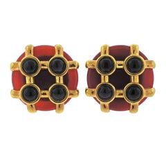 Aldo Cipullo 1970s Carnelian Onyx Gold Earrings