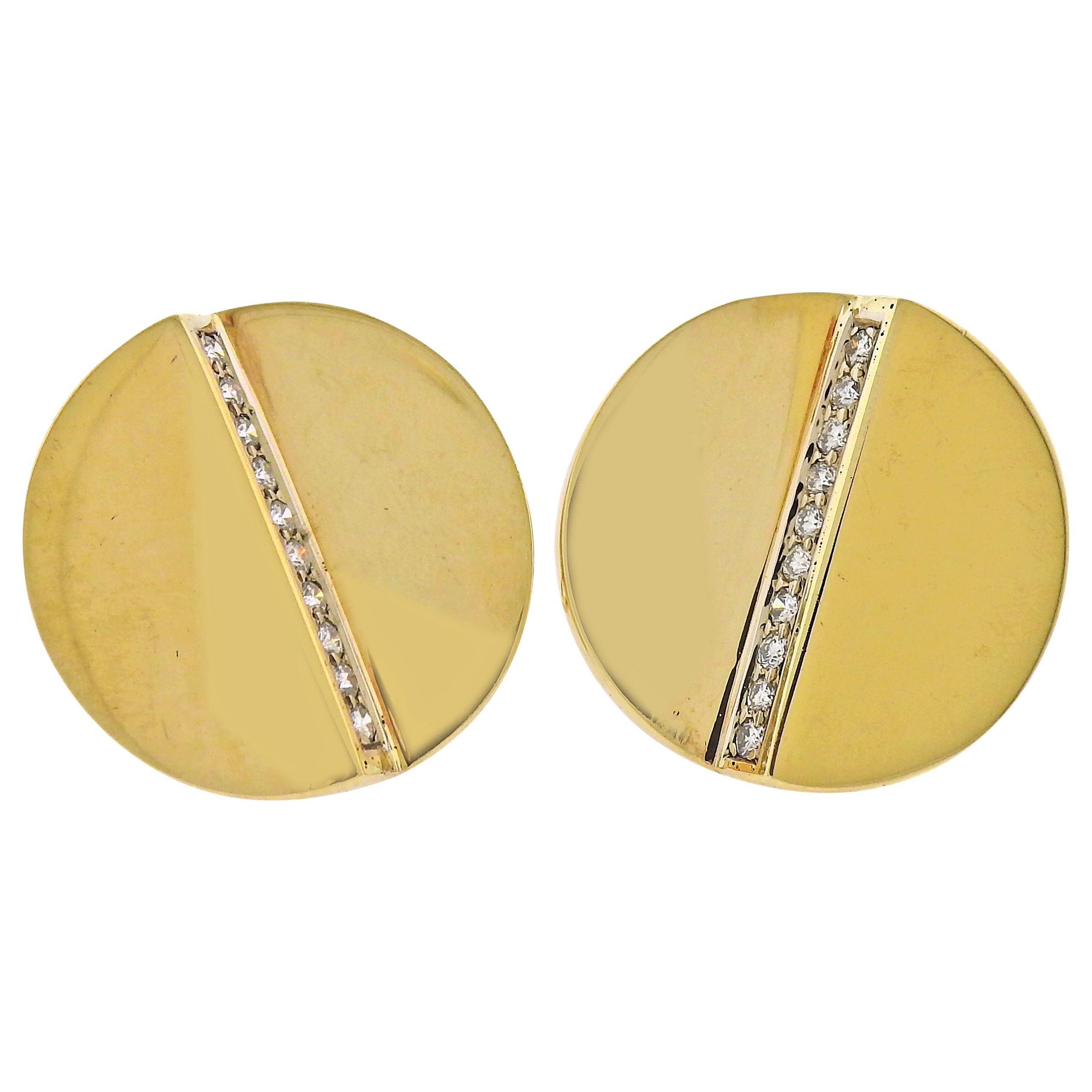 Aldo Cipullo 1970s Diamond Gold Earrings