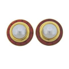 Aldo Cipullo Carnelian Pearl Gold Earrings