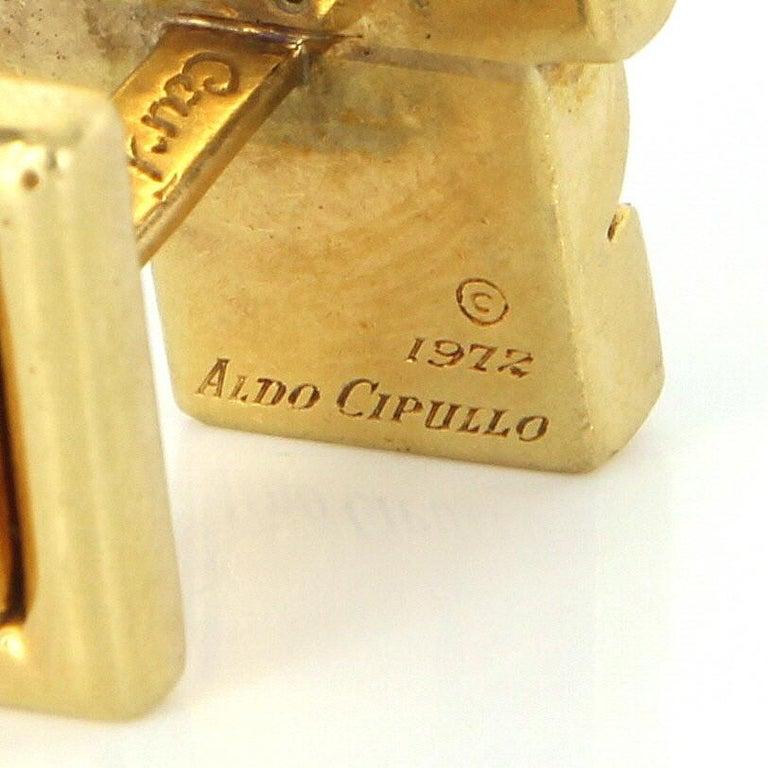 Modern Aldo Cipullo Cartier Cufflinks 18 Karat Gold Tigers Eye Signed Men's Jewelry