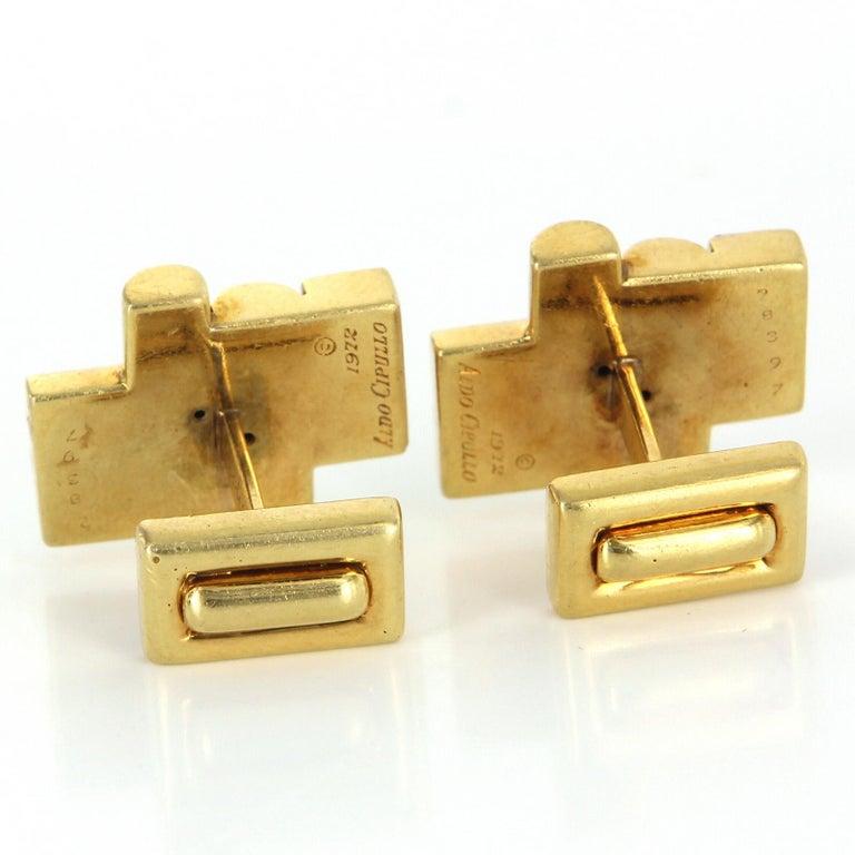 Aldo Cipullo Cartier Cufflinks 18 Karat Gold Tigers Eye Signed Men's Jewelry In Good Condition In Torrance, CA