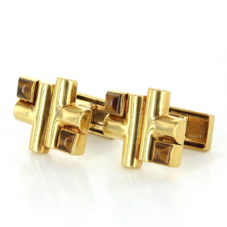 Women's or Men's Aldo Cipullo Cartier Cufflinks 18 Karat Gold Tigers Eye Signed Men's Jewelry