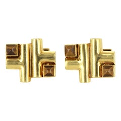 Aldo Cipullo Cartier Cufflinks 18 Karat Gold Tigers Eye Signed Men's Jewelry