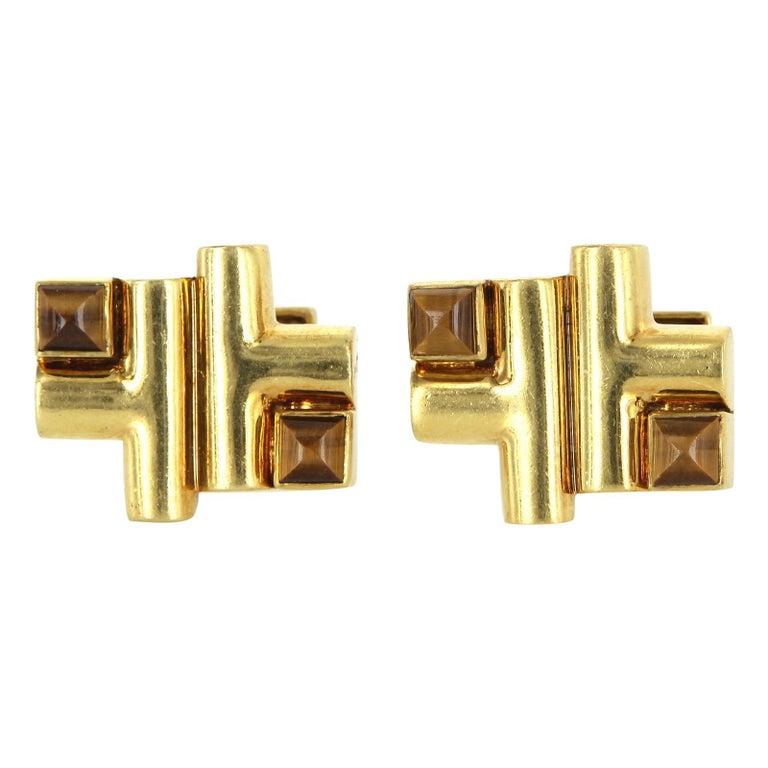 Aldo Cipullo Cartier Cufflinks 18 Karat Gold Tigers Eye Signed Men's Jewelry