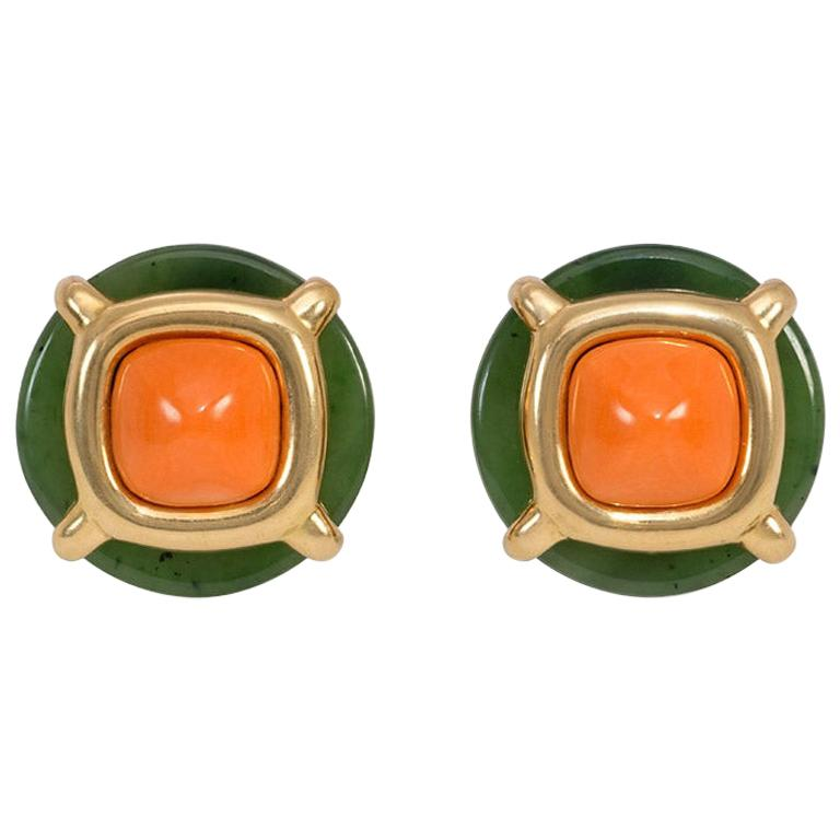 Aldo Cipullo for Cartier 1970s Nephrite Jade, Coral and Gold Button Earrings