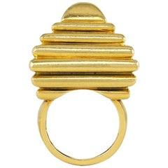 Aldo Cipullo for Cartier Gold Modernist Ziggurat Form Ring