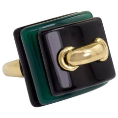 Aldo Cipullo for Cartier Gold, Onyx, and Chrysoprase Layered Plaque Ring