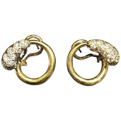 Aldo Cipullo Gold Diamond Clip Earrings