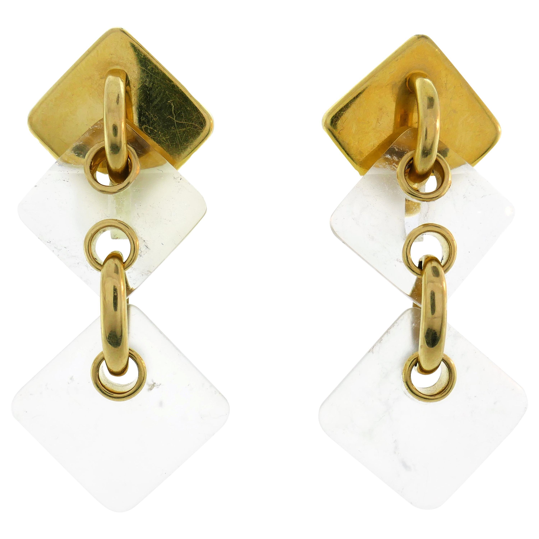 Aldo Cipullo Rock Crystal Yellow Gold Earrings