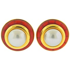 Aldo Cipullo South Sea Pearl Carnelian Gold Earrings