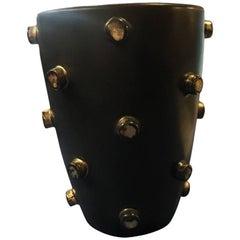 Aldo Londi Bitossi 1960s Italian Mid-Century Modern Studded Cylindrical Vase