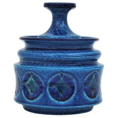 Aldo Londi Bitossi Blue Ceramic Lidded Box / Pot Circles and Rhombus Motif