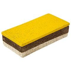 Aldo Londi Bitossi Box, Ceramic, Yellow, Brown and White