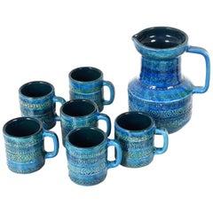 Aldo Londi, Bitossi Ceramics, Set Carafe and Glasses, Rimini Blue, Italy 1960s