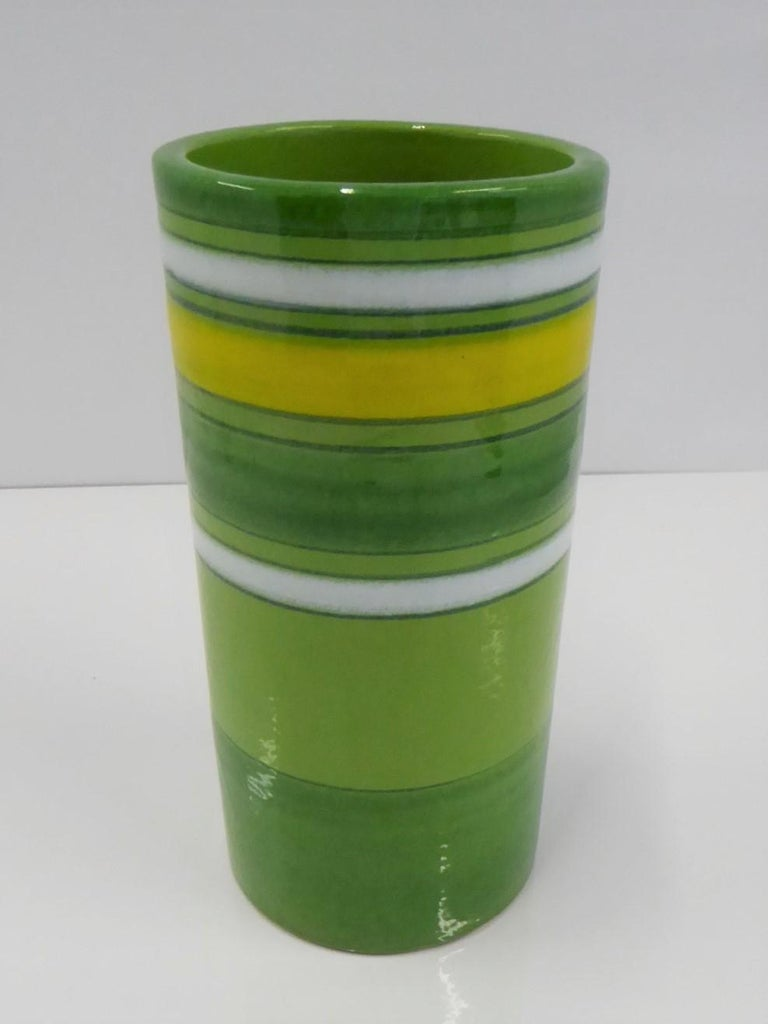 Mid-Century Modern Aldo Londi Bitossi Fascie Colorate Green Cylindrical Vase Rosenthal Netter 70s For Sale