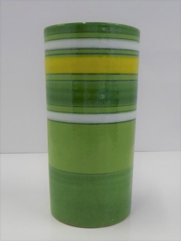 Italian Aldo Londi Bitossi Fascie Colorate Green Cylindrical Vase Rosenthal Netter 70s For Sale