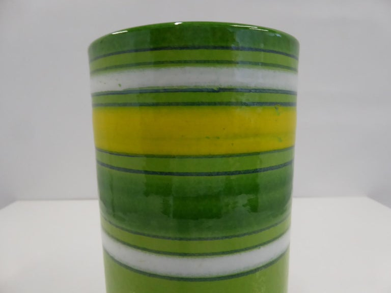 Aldo Londi Bitossi Fascie Colorate Green Cylindrical Vase Rosenthal Netter 70s In Good Condition For Sale In Miami, FL