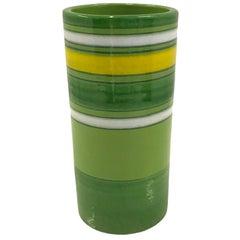 Aldo Londi Bitossi Fascie Colorate Green Cylindrical Vase Rosenthal Netter 70s