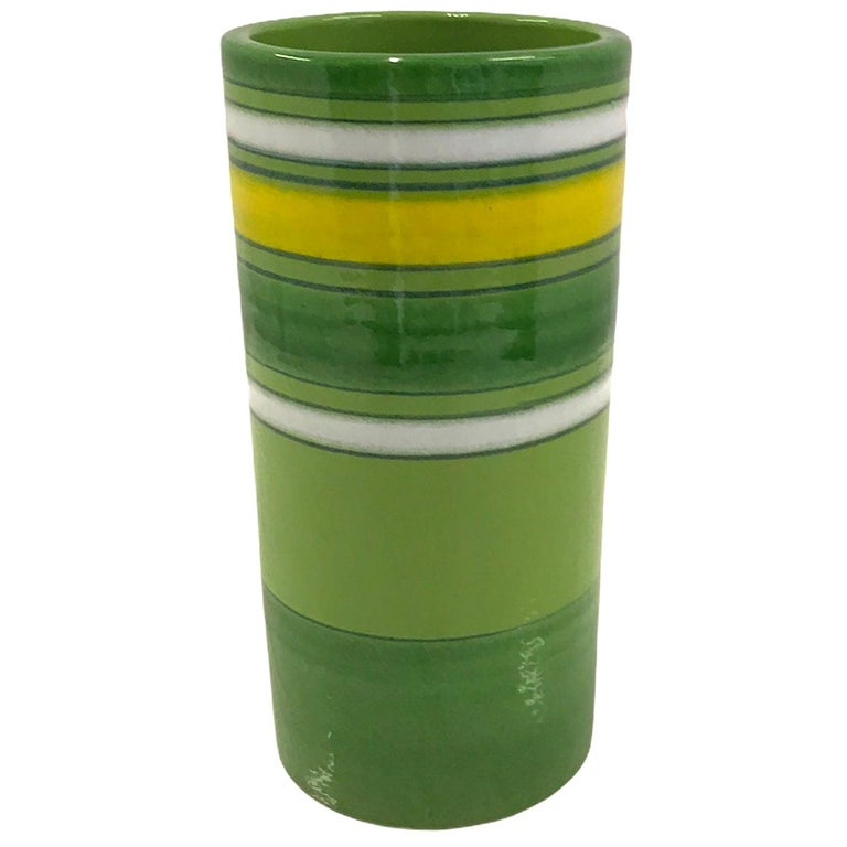 Aldo Londi Bitossi Fascie Colorate Green Cylindrical Vase Rosenthal Netter 70s For Sale