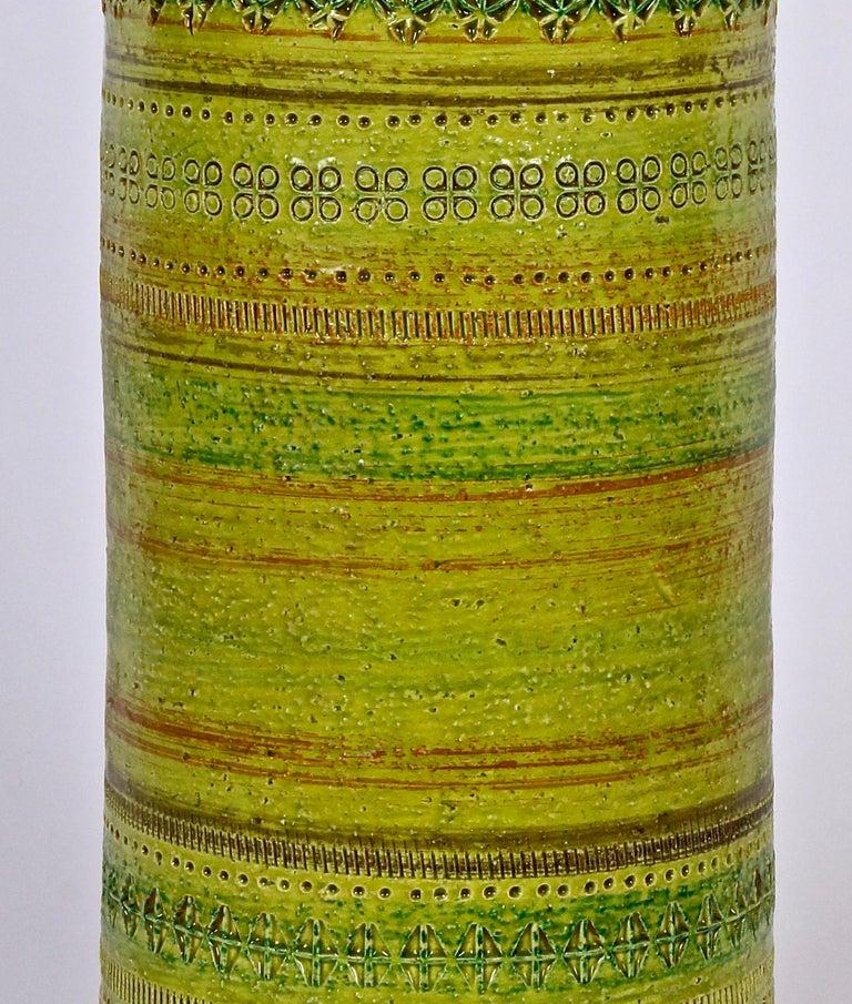 Italian Aldo Londi Bitossi for Rosenthal Netter Incised Spring Green Ceramic Vase For Sale