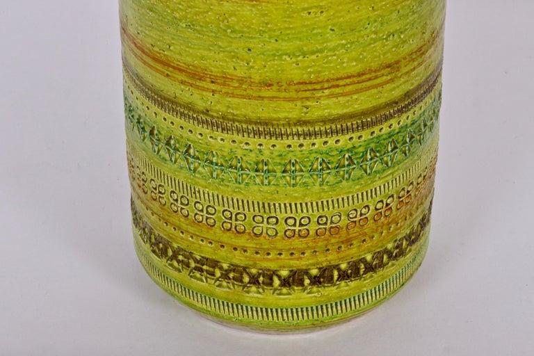 Glazed Aldo Londi Bitossi for Rosenthal Netter Incised Spring Green Ceramic Vase For Sale