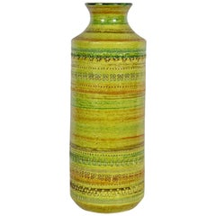 Aldo Londi Bitossi for Rosenthal Netter Incised Spring Green Ceramic Vase
