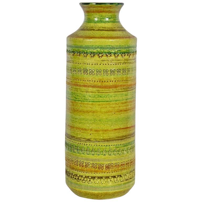 Aldo Londi Bitossi for Rosenthal Netter Incised Spring Green Ceramic Vase For Sale