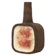 Aldo Londi Bitossi Fritte Vase, Ceramic, Fused Glass, Brown, Red, White, Signed